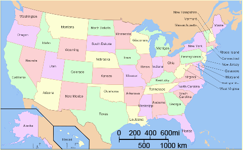 Map Of Us With Scale Map scale